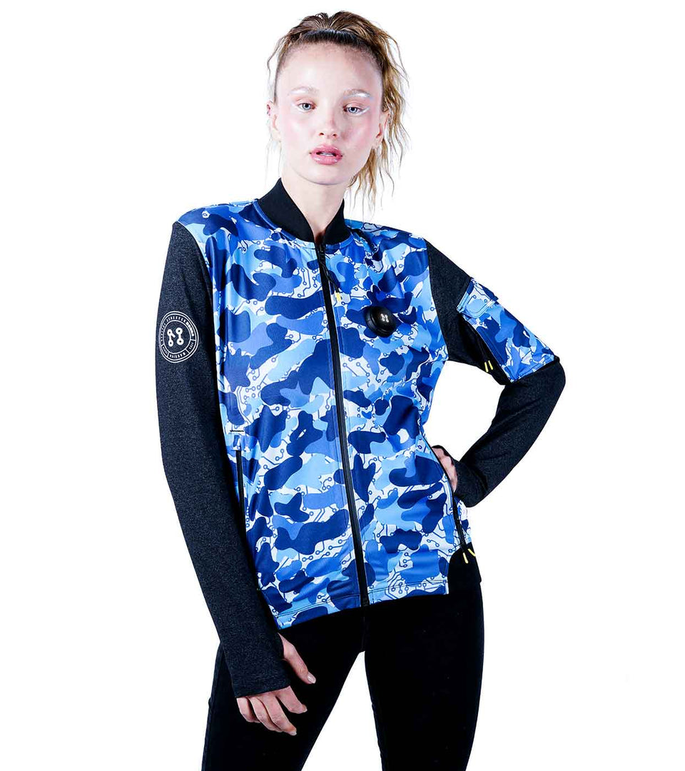 BLUE CAMO BOMBER JACKET