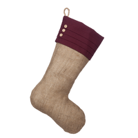 Stocking with Pleated Burgundy Cuff and Three Wooden Buttons