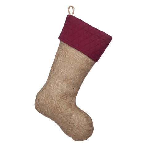 Stocking with Quilted Burgundy Cuff