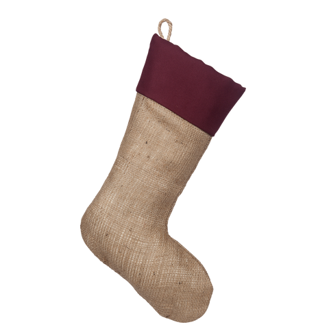 Stocking with Plain Burgundy Cuff