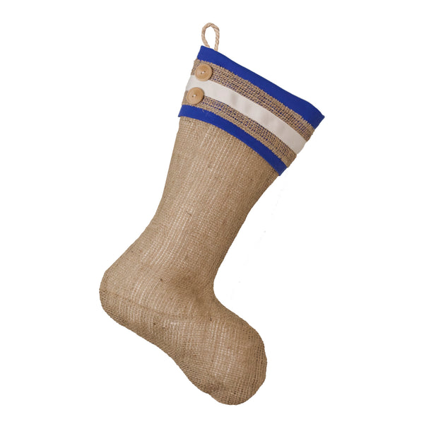 Burlap Christmas Stocking with Blue Cuff Accents- Style E
