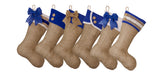Burlap Christmas Stocking with Blue Cuff Accents- Style B