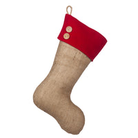 Burlap stocking with Red Accents - Style C