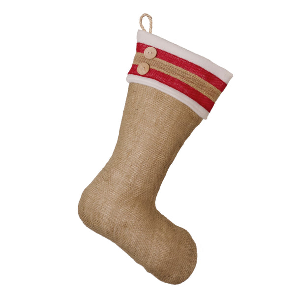 Burlap Stocking with Red Accents - Style G