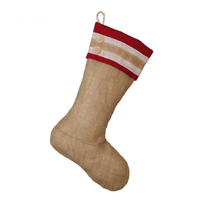 Burlap Stocking with Red Accents - Style R