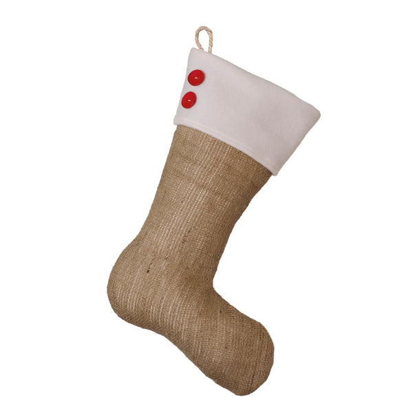 Burlap Stocking with Red Accents - Style U