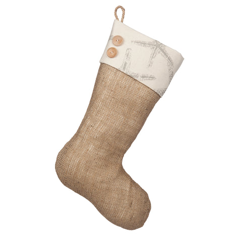 Starfish Christmas Stockings - Burlap Boot with Starfish Cuff and Two Wooden Buttons