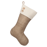 Classic Burlap Stocking - Burlap w/ Monk's Cloth Traditional Cuff & Two(2) Wooden Buttons