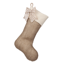 Classic Burlap Stocking - Burlap w/ Monk's Cloth Traditional Cuff & White Chevron Burlap Bow