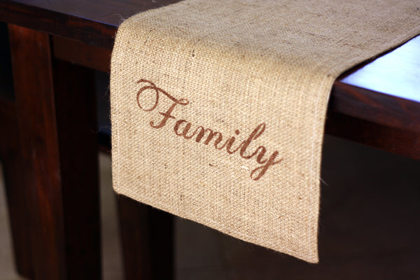 "Burlap Table Runner - ""Family"""