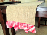 Burlap & Gingham Ruffle Table Runner