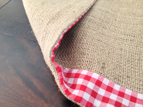 ... Burlap And Gingham Trim Table Runner