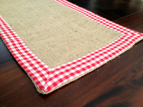 Burlap And Gingham Trim Table Runner