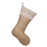 Classic Burlap Stocking - Burlap with Lace Cuff