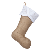 Classic Burlap Stocking - Burlap with Scallop White Eyelet Cuff