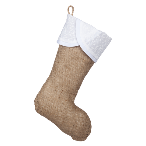 Classic Burlap Stocking - Burlap with Scallop White Holly Cuff