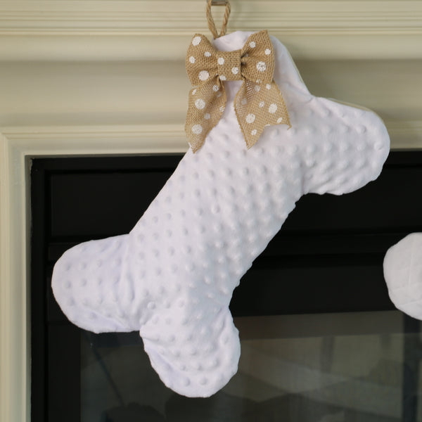 White Dot Minky Dog Bone Stocking