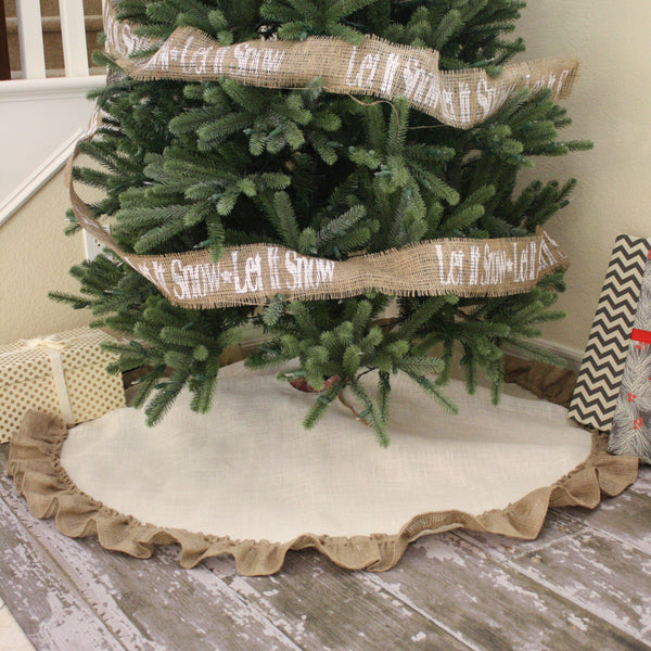 "48"" Ivory Burlap Tree Skirt with Natural Burlap Hemmed Ruffle"