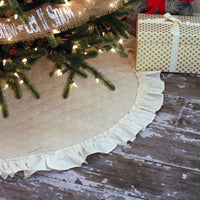 "42"" Inch Quilted Christmas Tree Skirt with Ruffle Trim"