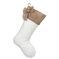 Christmas Stocking with Burlap Accents - Madison A
