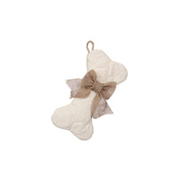 Mini-Bone Quilted Stocking with Optional Bow - Pet Stocking