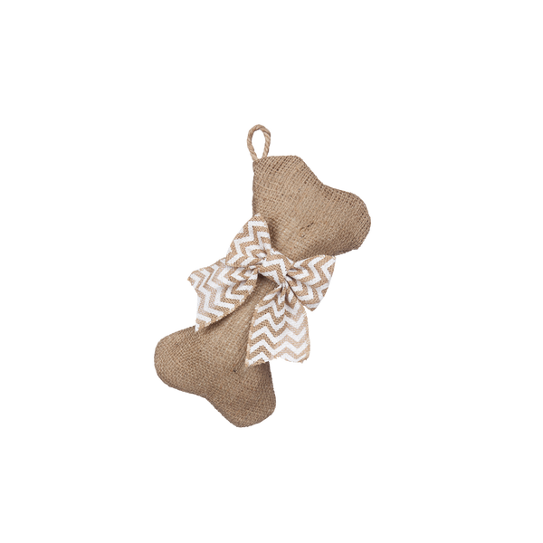 Mini-Bone Natural Burlap Stocking with Optional Bow - Pet Stocking