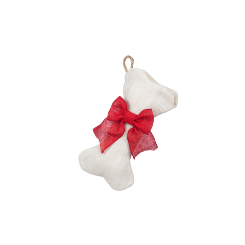 Mini-Bone White Burlap Stocking with Optional Bow - Pet Stocking
