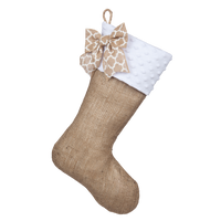 Burlap Stocking with a White Minky Cuff