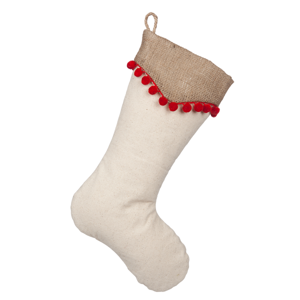 Light Beige Boot with Natural Burlap Point Cuff and Red Pompom Trim