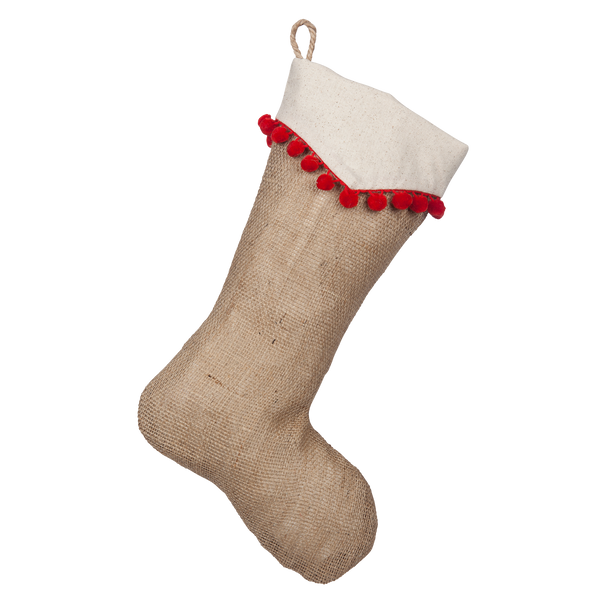 Natural Burlap Boot with Light Beige Cotton Point Cuff and Red Pompom Trim
