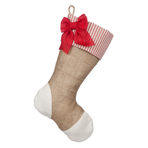 Christmas Stockings with Red Ticking Accents - Trio A
