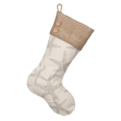 Starfish Christmas Stockings - Starfish Boot with Burlap Cuff and Two Wooden Buttons