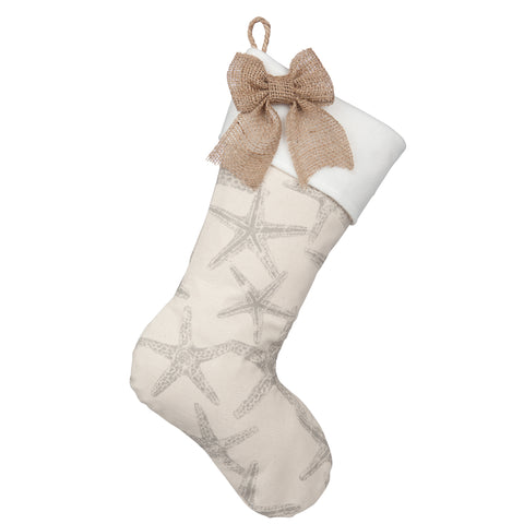 Starfish Christmas Stockings - Starfish Boot with Fleece Cuff and Natural Burlap Bow