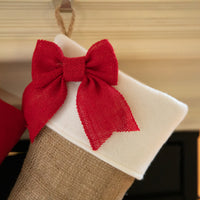 Burlap stocking with Red Accents - Style D
