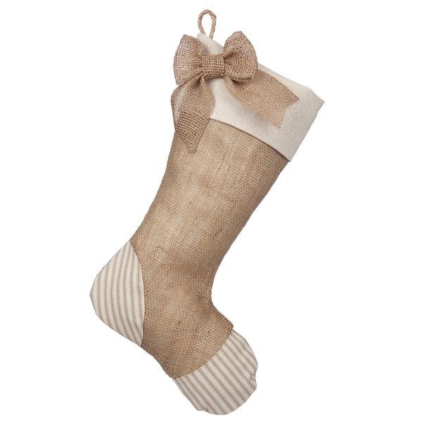 Taupe Ticking Stocking - A
