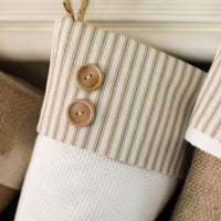 Taupe Ticking Stocking - B