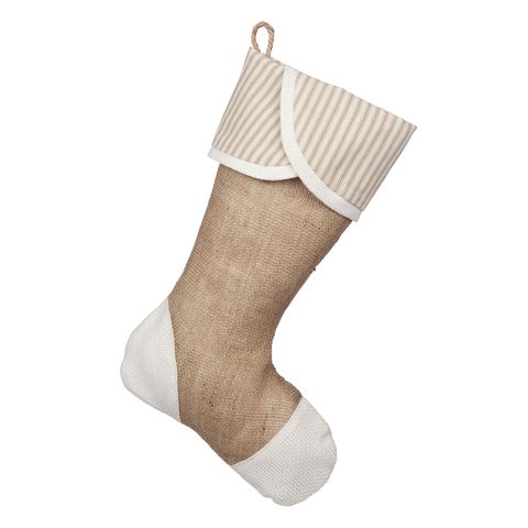 Taupe Ticking Stocking - C