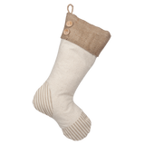 Taupe Ticking Stocking - H