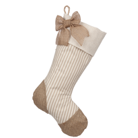 Taupe Ticking Stocking - F
