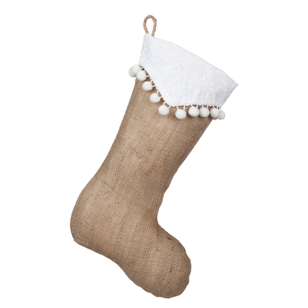 Natural Burlap Boot with Point Cuff and White Pompom Trim