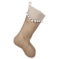 Natural Burlap Boot with Taupe Point Cuff and White Pompom Trim