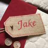 Natural Burlap Embroidered Burlap Stocking Tag