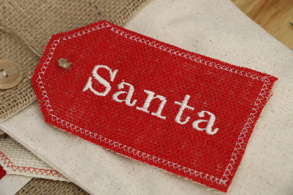 Red Burlap Embroidered Burlap Stocking Tag