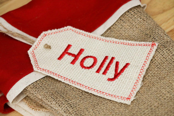 Ivory Burlap Embroidered Stocking Tag