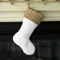 White Minky Christmas Stocking with Burlap Cuff
