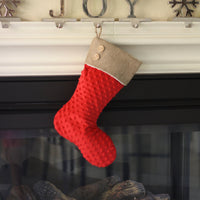 Red Minky Christmas Stocking with Burlap Cuff