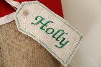 Light Ivory Burlap Personalized Embroidered Stocking Tag
