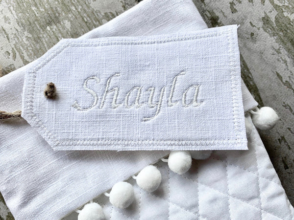 White Linen Embroidered Stocking Tag