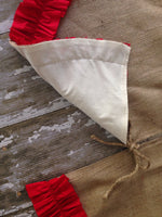 Christmas Tree Skirt with Red Cotton Ruffle Trim