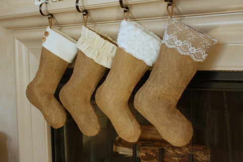 Set of Four Burlap Stockings